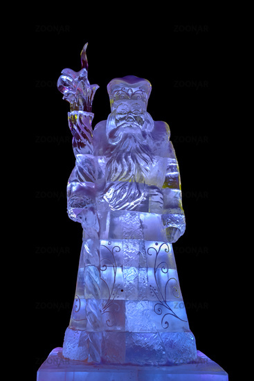 Ice sculpture of Santa Claus isolated on black