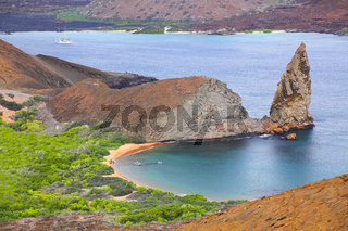 View of Pinnacle Rock on Bartolome island, Galapagos National Park, Ecuador.