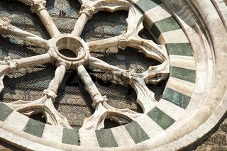Rosette Fenster, Montalcino, Toskana, Italien, in der Provinz Siena