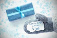 Turquoise Gift, Glove, Always A Reason To Smile, Snowflakes
