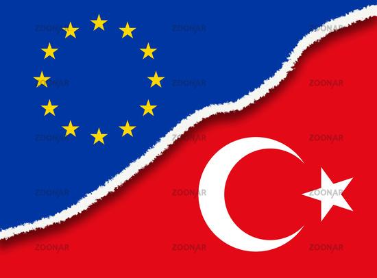 Riss zwischen Europa und der Türkei