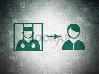 Law concept: Criminal Freed on Digital Data Paper background
