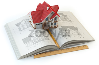 House project. Book with drafts of house and 3d model of house. Construction,  architecture and design concept