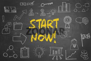 Start now! Konzept auf Tafel