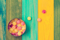 Candy in metal box, top view