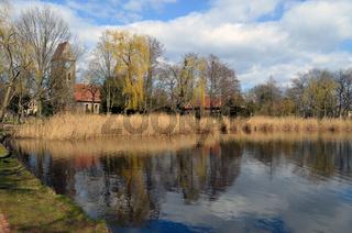 Village pond with church