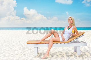 Young woman have enjoy on the beach