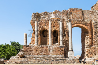 wall and columns of Teatro Greco in Taormina