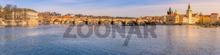 City panorama with the Vltava river in Prague