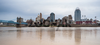Muddy Ohio River Flows By After Storm Cincinnati Waterfront