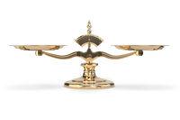 Golden balance scales isolated on white background