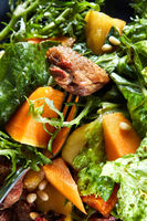 macro delicious, grilled meat duck with roasted pumpkin
