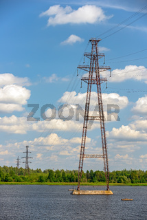 Power lines over river