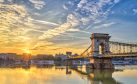 Budapest sunrise city skyline at Budapest Chain Bridge and Danube River, Budapest, Hungary