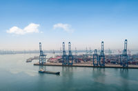 aerial view of container terminal