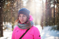 woman portrait in a winter forest