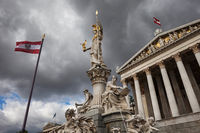Goddess Athena and Austrian Parliament in Vienna