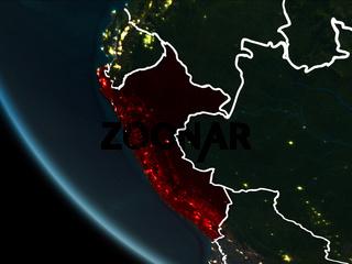 Satellite view of Peru at night