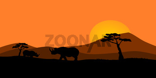 African sunset illustration