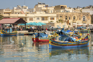 Fishing Boats In The Harbour, ,Marsaxlokk Village, Malta