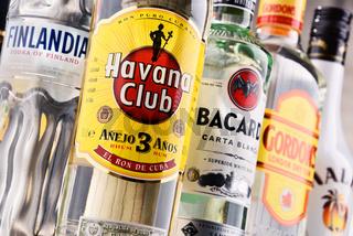 Bottles of assorted global hard liquor brands