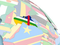 Flag of Central Africa on globe