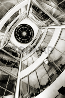View from below of interior futuristic glass building
