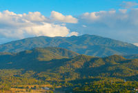 Thailand mountains at sunset. Pai