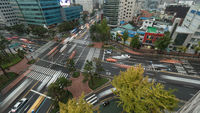 Transport traffic on junction in Seoul, South Korea