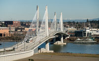 People Move Across Portland Bridge Willamette River Cascade Mountain Range