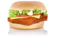 Fischburger Fisch Burger Backfisch Hamburger Käse Freisteller freigestellt isoliert