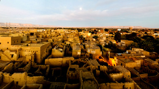 Aerial view to Al-Qasr old town, Dakhla oasis, Egypt