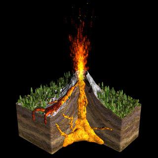 Volcano spitting fire.