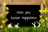 Narcissus, Egg, Bunny, Text Wish You Easter Happiness