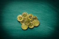 Golden bitcoins. Cryptocurrency. Coins of bitcoin.