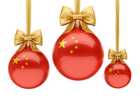 3D rendering Christmas ball with the flag of China