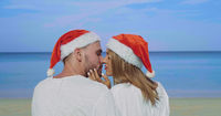 Christmas beautiful beach couple