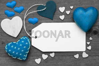 Black And White Label, Blue Hearts, Copy Space