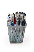 gel pens in metal grid container isolated