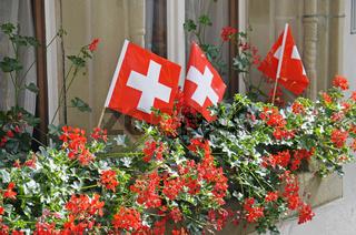 Schweizer Fahnen in Blumenkasten auf Fensterbank