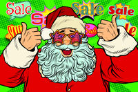 sale background Santa Claus in the star glasses