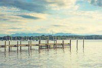 Hölzerner Steg im Starnberger See