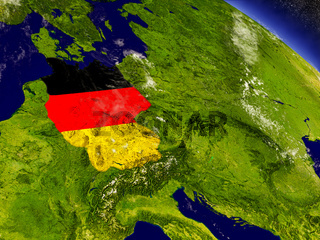 Germany with embedded flag on Earth