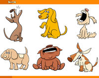 funny comic dogs cartoon characters set