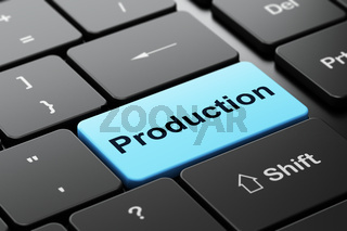 Business concept: Production on computer keyboard background