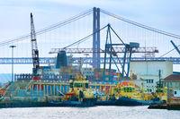Lisbon industrial cargo port. Portugal