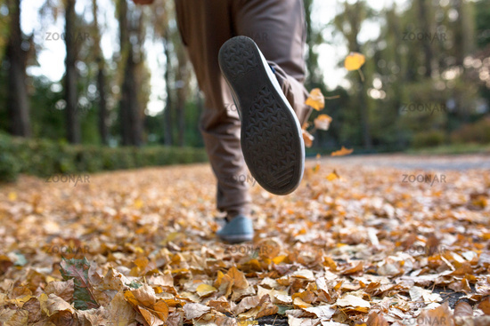 Autumn jogger legs close up image.