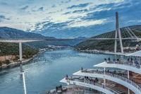 Cruise Ship Leaving Harbour Dubrovnik Croatia