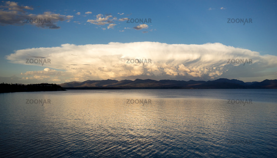 Sytorm Clouds Brew Over Yellowstone Lake Absaroka Mountains