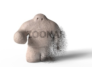 Golem go into dust on white background. 3d illustration
